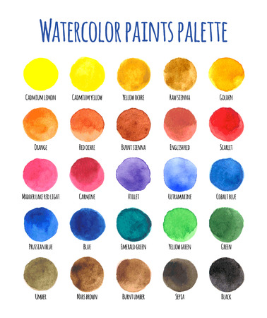 sienna: 25 vector watercolor swatches isolated on white background