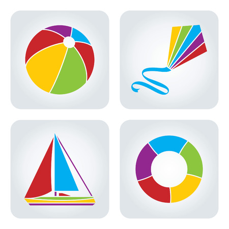 kite: Set of 4 vector mosaic summer vacation icons.