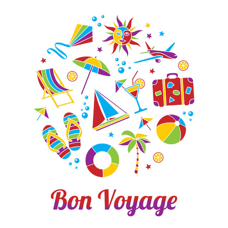 bon: Vacation illustration with Bon Voyage headline in flat mosaic style