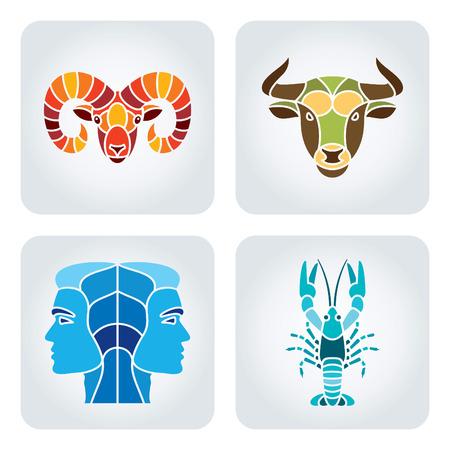 aries: Ilustración del vector de símbolos de la astrología: Aries, Tauro, Géminis, Cáncer.