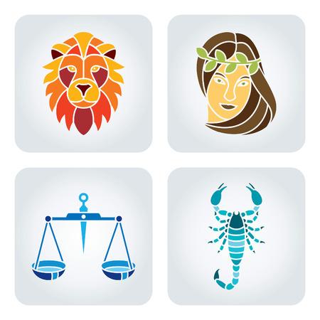 leo: Vector illustration of astrology symbols: Leo, Virgo, Libra, Scorpio. Illustration