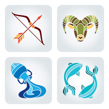 Vector illustration of astrology symbols: Sagittarius, Capricorn, Aquarius and Pisces. Vector