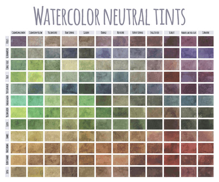Watercolor mixing chart. Colors mixing in equal guantities with each of the colours on the popular palette.