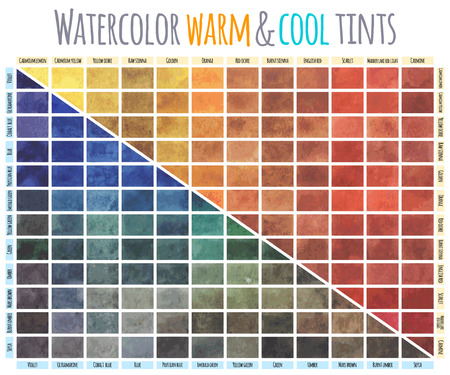 sienna: Watercolor mixing chart. Colors mixing in equal guantities with each of the colours on the popular palette.