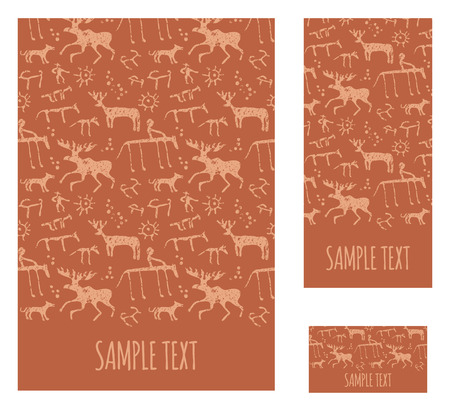 rock painting: Cave rock painting animals silhouettes templates Illustration