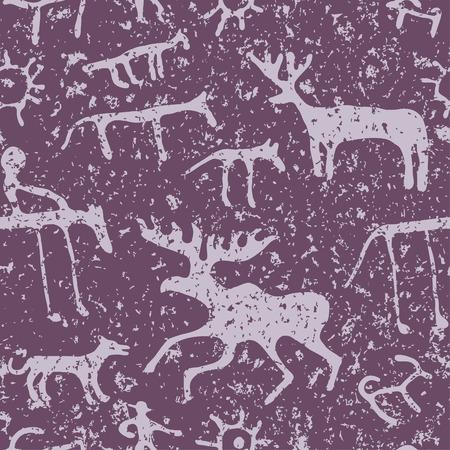 pintura rupestre: Cueva de la pintura de animales siluetas patr�n sin fisuras