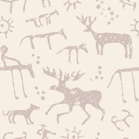 peinture rupestre: Cave Les animaux de peinture silhouettes seamless