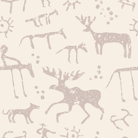 ancient civilization: Cave painting animals silhouettes seamless pattern