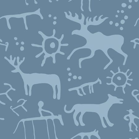 pintura rupestre: Cueva de la pintura de animales siluetas patrón sin fisuras