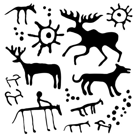Cave rock painting animals silhouettes set Illustration