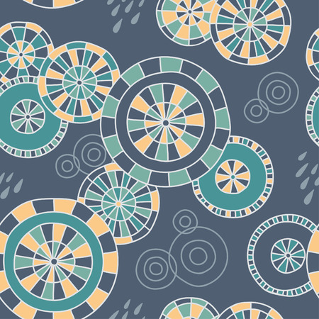 Cute handdrawn pattern with Japanese umbrellas and raindrops. Vector background. Vector