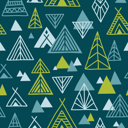 north american: Cute hand-drawn seamless pattern in ethnic style. North American landscape abstract illustration. Vector background.