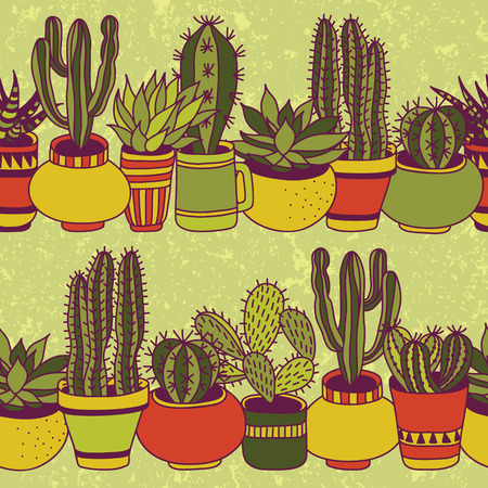 garden plant: Succulents in pots seamless pattern. Sweet  vector background.