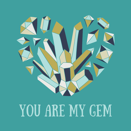 crystal heart: Hand-drawn vector illustration with crystal heart. Bright romantic card.