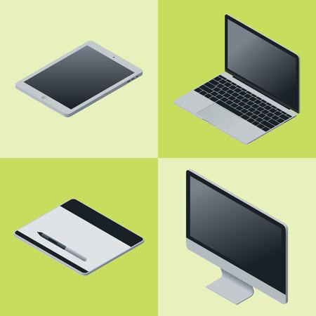 gadgets: Isometric mobile gadgets set . Vector illustration.
