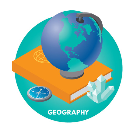 geography: School subjects isometric vector illusration. Geography icon. Illustration