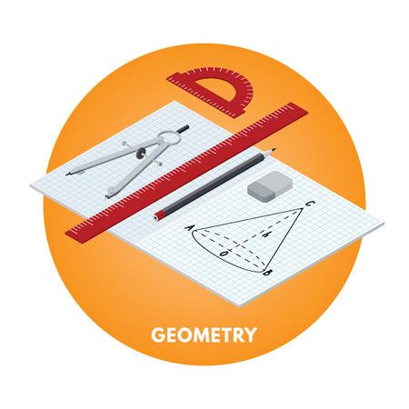 School subjects isometric vector illusration. Geometry icon. Illustration