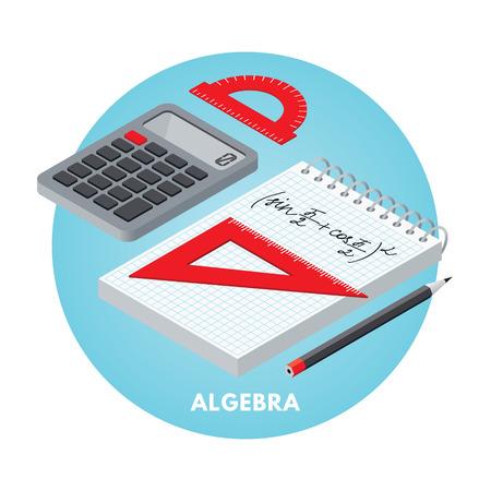 Schulfächer isometrische Vektor-Illusration. Algebra-Symbol. Standard-Bild - 44491675