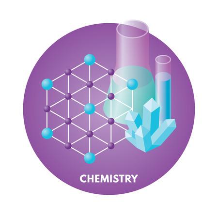 Schulfächer isometrische Vektor illusration. Chemie-Symbol. Standard-Bild - 44491676