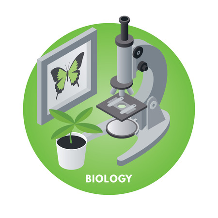 School subjects isometric vector illusration. Biology icon.