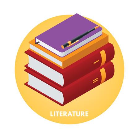 literature: School subjects isometric vector illusration. Literature icon. Illustration