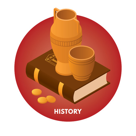 history icon: School subjects isometric vector illusration. History icon. Illustration