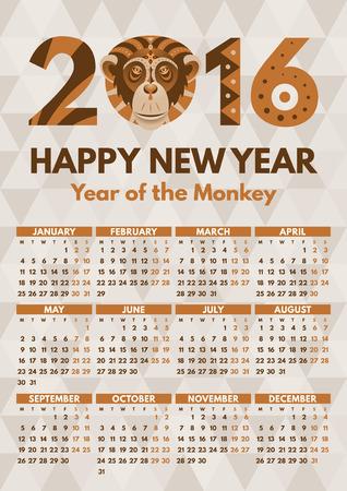 kalendarz: Kalendarz ścienny 2016 szablon wektora płaska. Tydzień zaczyna się w poniedziałek. Gotowe druku A4, 210x297 mm, łatwe do resize.Monkey - symbol 2016 roku przez chiński horoskop. Wzorzyste Tribal ozdobny illusration.