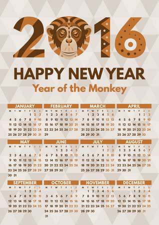 calendar vector: Wall Calendar 2016 vector flat design template. Week starts Monday. Print ready A4, 210x297 mm, easy to resize.Monkey - symbol of the 2016 Year by Chinese Horoscope. Patterned Tribal ornate illusration.