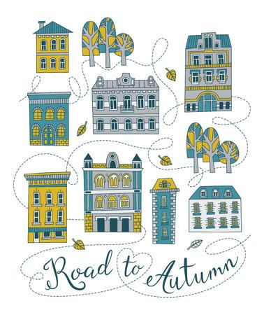 autumn city: Sweet romantic autumn city illustration