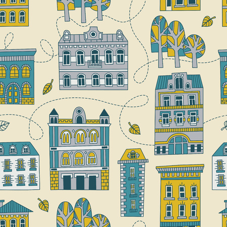 romantic: Sweet romantic autumn city illustration