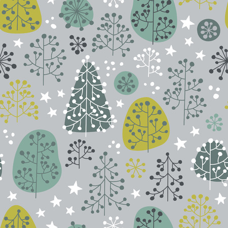 fall winter: Late autumn mood. Fabulous forest illustration in gentle colors. Vector seamless pattern. Illustration