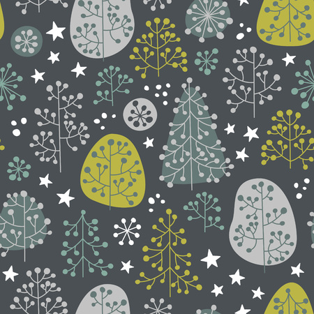 hoarfrost: Late autumn mood. Fabulous forest illustration in gentle colors. Vector seamless pattern. Illustration