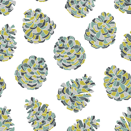pine cones: Hand-drawn vector seamless pattern with pine cones.