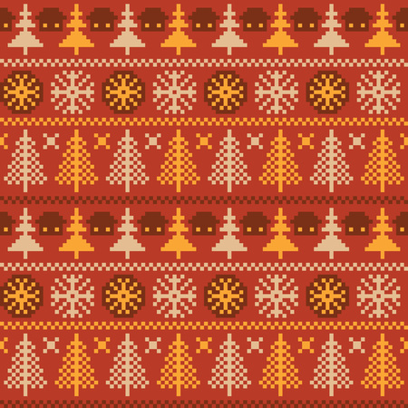 norwegian: Winter seamless pattern with traditional Norwegian ornament