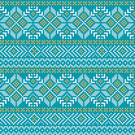 Winter seamless pattern with traditional Norwegian ornament