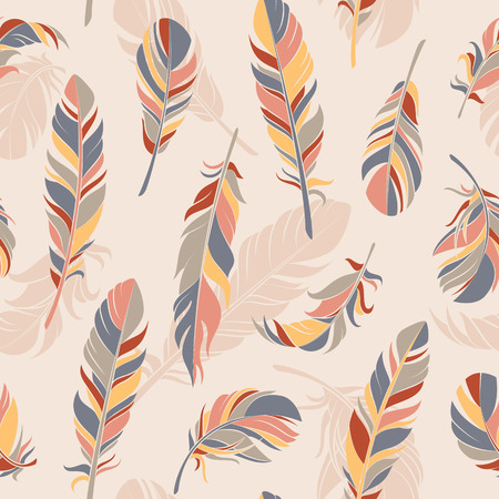 spring balance: Vector seamless pattern with feathers. Hand drawn illustration. Illustration