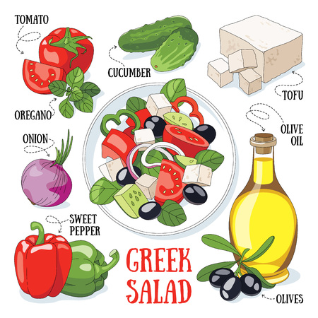 Greek salad and its ingredients. Mediterranean traditional cuisine.