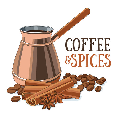 copper: Coffee in copper ibrik, coffee beans and spices. Illustration