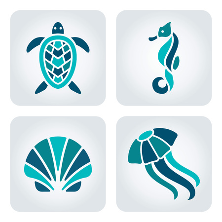 Set van 4 vector zeedieren iconen
