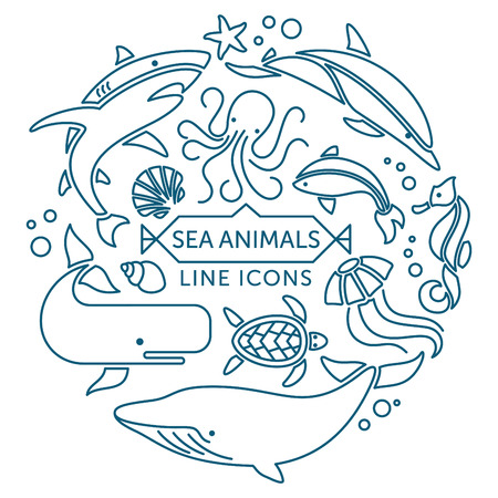 cachalot: Set of vector outline sea animals icons arranged in circle