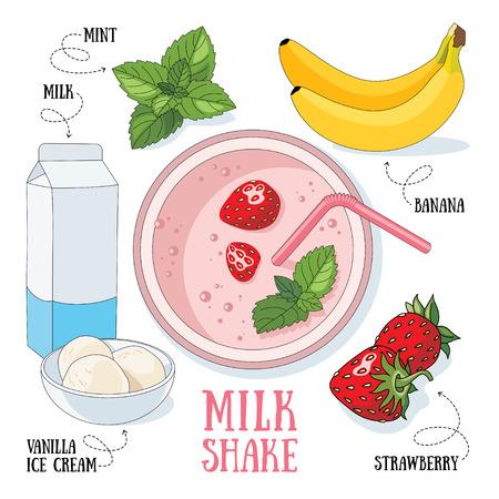 milk shake: Banana and strawberry milk shake. Vector cartoon illustration isolated on a white background.