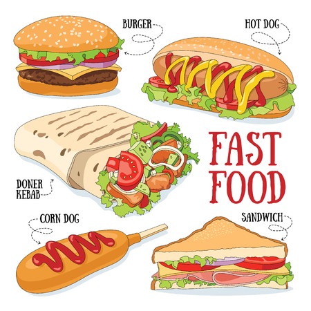 Set van 5 fast food vector illustraties.