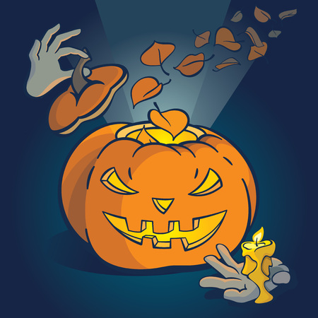 Cute vector illustratie met cartoon Halloween Pumpkin