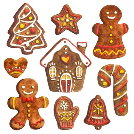 illustration sweet watercolor illustration with cute christmas cookies