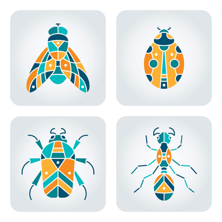 Set van 4 vector insecten iconen Stock Illustratie