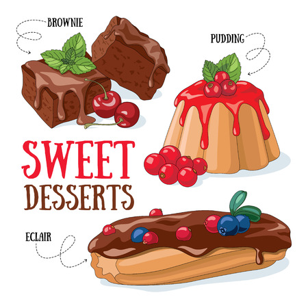 Set of vector desserts illustrations: brownie, pudding, eclair.
