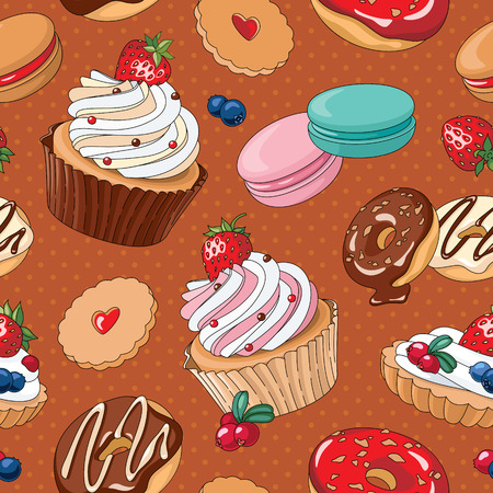 Naadloos patroon met handgetekende desserts vector illustraties Stock Illustratie