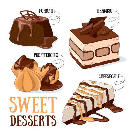 Set of 4 vector desserts illustrations: fondant, profiteroles, tiramisu, cheesecake.