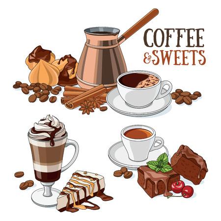 さまざまな種類のコーヒーと甘いデザート。ベクトル イラストのセットです。