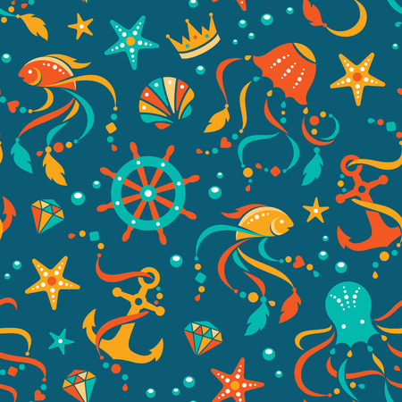 subsea: Nautical vector seamless pattern with sea animals and gems. Illustration